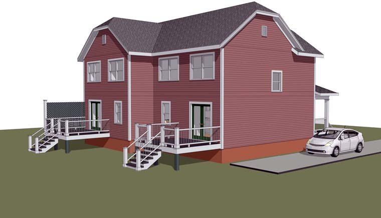 Multi-Family Plan 72785 Rear Elevation