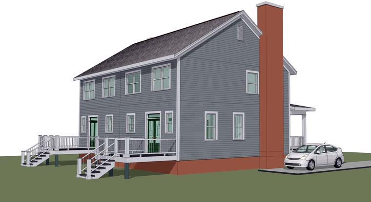 Multi-Family Plan 72787 with 6 Beds, 6 Baths Rear Elevation