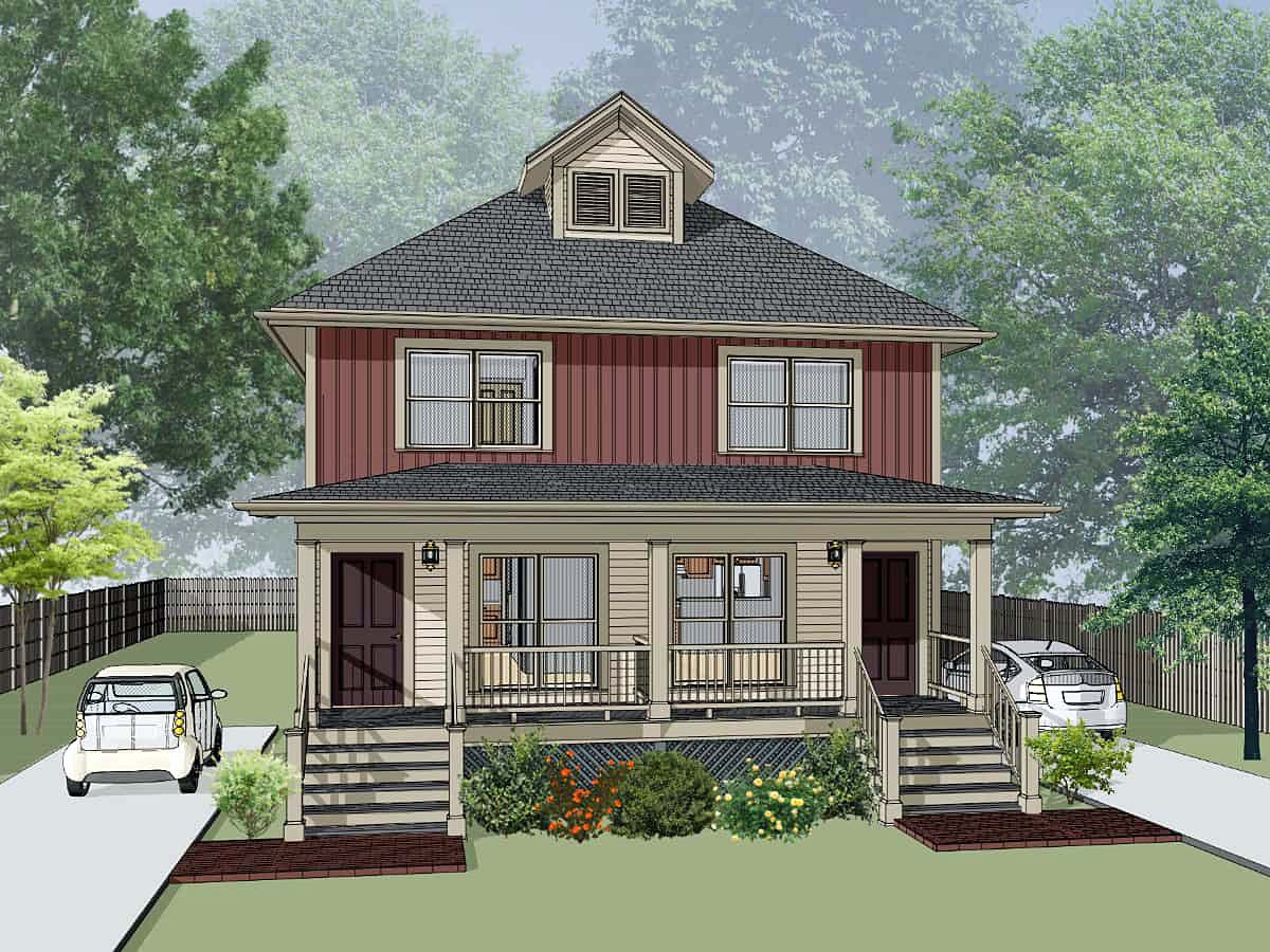 Multi-Family Plan 72793 with 4 Beds, 4 Baths Front Elevation