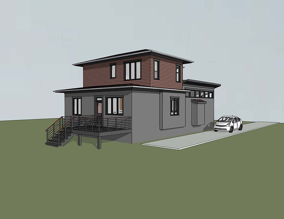 Modern , Contemporary House Plan 72799 with 3 Beds, 2 Baths Rear Elevation