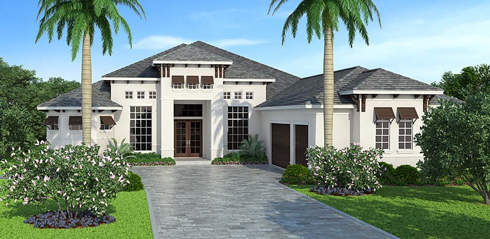 Coastal, Florida, Mediterranean House Plan 72806 with 3 Beds, 5 Baths, 3 Car Garage Elevation