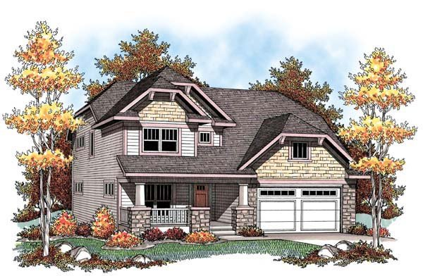 Country Craftsman Farmhouse Narrow Lot Elevation of Plan 72910
