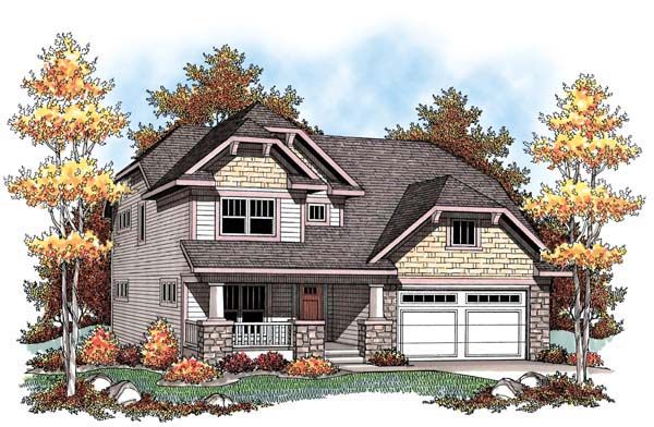 Country Craftsman Farmhouse House Plan 72910 Elevation
