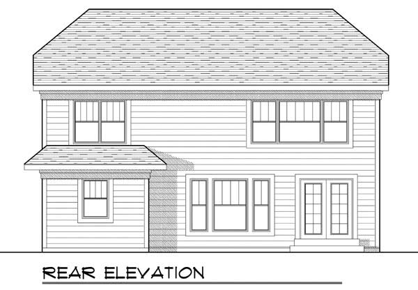 Country Craftsman Farmhouse Narrow Lot Rear Elevation of Plan 72910