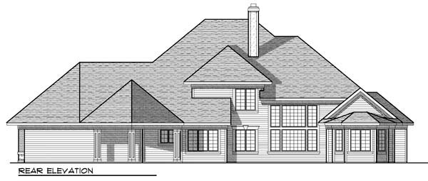 Traditional House Plan 72914 with 4 Beds, 4 Baths, 4 Car Garage Rear Elevation