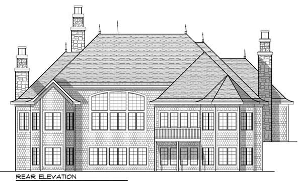 Country , European , Ranch House Plan 72918 with 3 Beds, 4 Baths, 3 Car Garage Rear Elevation