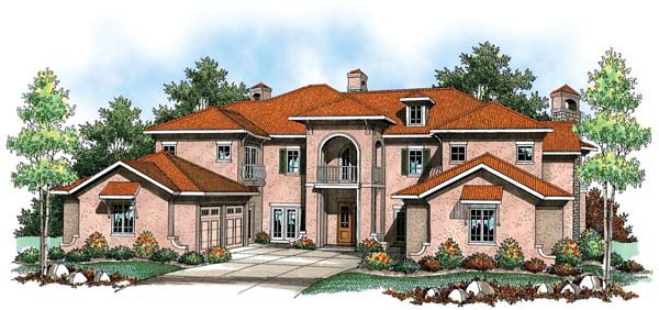 Coastal, Mediterranean House Plan 72919 with 4 Beds, 9 Baths, 4 Car Garage Elevation