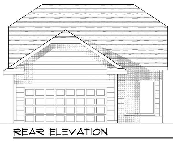 Craftsman , Ranch , Rear Elevation of Plan 72920