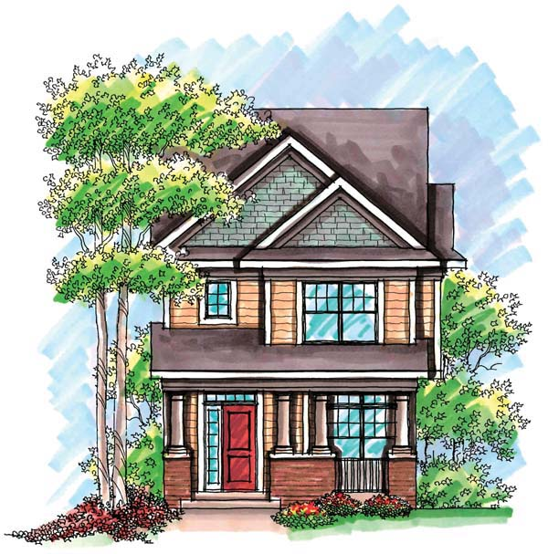 Cottage, Craftsman, Narrow Lot House Plan 72922 with 3 Beds , 3 Baths , 2 Car Garage Elevation