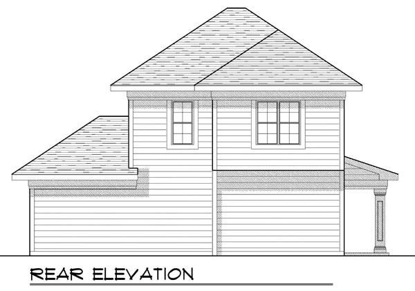 Traditional , Rear Elevation of Plan 72926