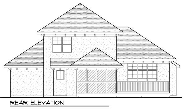 House Plan 72930 | Mediterranean Style Plan with 1413 Sq Ft, 3 Bedrooms, 3 Bathrooms, 3 Car Garage Rear Elevation