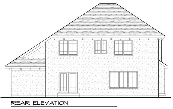 Mediterranean Rear Elevation of Plan 72933