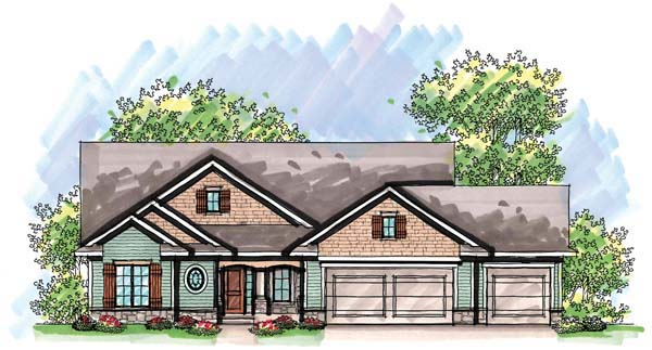Cottage, Country, Craftsman, One-Story, Ranch House Plan 72934 with 3 Beds, 3 Baths, 3 Car Garage Front Elevation