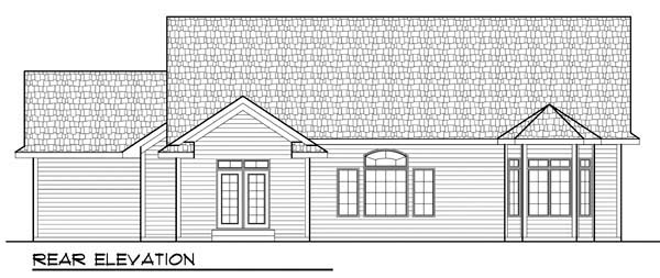 Cottage Country Craftsman One-Story Ranch Rear Elevation of Plan 72934
