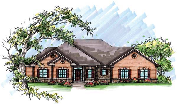Country , European , One-Story , Elevation of Plan 72937