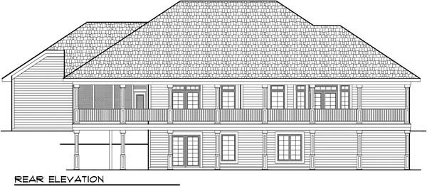 Country , European , One-Story , Rear Elevation of Plan 72937