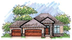 Coastal , Mediterranean , Ranch House Plan 72938 with 2 Beds, 2 Baths, 3 Car Garage Elevation