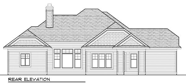 Country Craftsman Ranch Rear Elevation of Plan 72940
