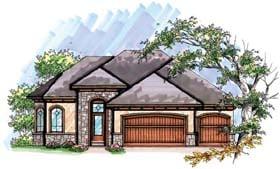 House Plan 72949 | Coastal Mediterranean Ranch Style Plan with 2707 Sq Ft, 5 Bedrooms, 3 Bathrooms, 3 Car Garage Elevation