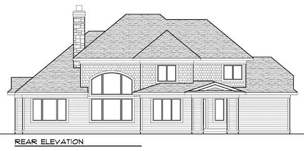 Country , European House Plan 72950 with 4 Beds, 3 Baths, 3 Car Garage Rear Elevation