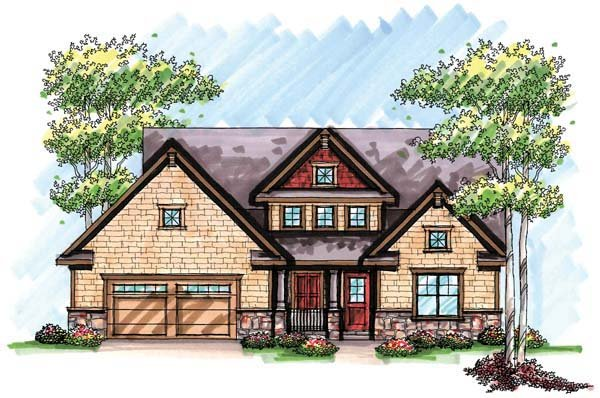 Country Craftsman Farmhouse House Plan 72952 Elevation