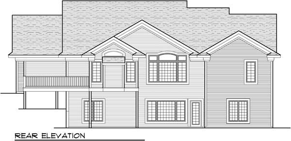 Ranch , Traditional House Plan 72960 with 5 Beds, 3 Baths, 3 Car Garage Rear Elevation