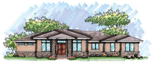 Prairie Style Southwest House Plan 72962 Elevation