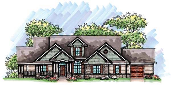 Country, Craftsman, European, One-Story, Ranch House Plan 72963 with 2 Beds, 2 Baths, 3 Car Garage Elevation