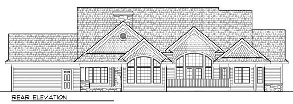Country, Craftsman, European, One-Story, Ranch House Plan 72963 with 2 Beds, 2 Baths, 3 Car Garage Rear Elevation