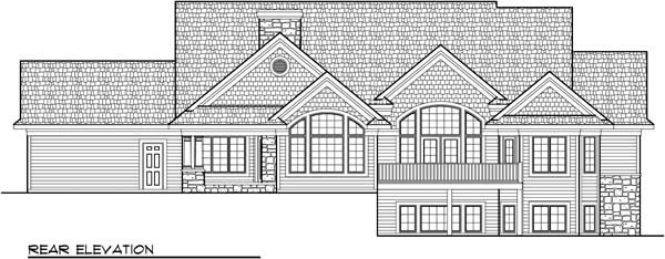 Craftsman European Ranch House Plan 72964 Rear Elevation