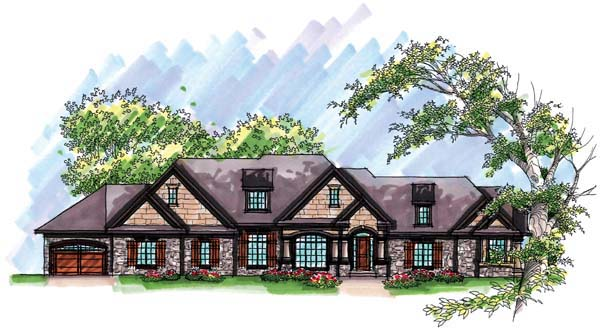 Country Craftsman European One-Story Ranch Elevation of Plan 72967