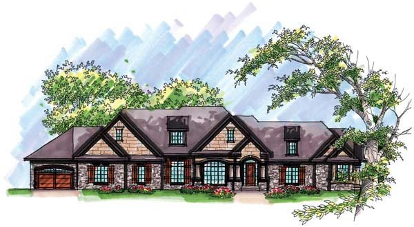 Country Craftsman European Ranch House Plan 72967 Elevation