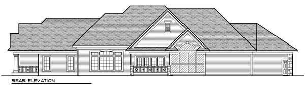 Country Craftsman European One-Story Ranch Rear Elevation of Plan 72967