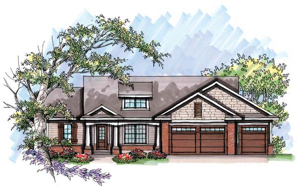 Cottage Craftsman One-Story Ranch Elevation of Plan 72969