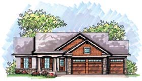 House Plan 72970 | Bungalow Craftsman Traditional Style Plan with 1351 Sq Ft, 3 Bedrooms, 2 Bathrooms, 3 Car Garage Elevation