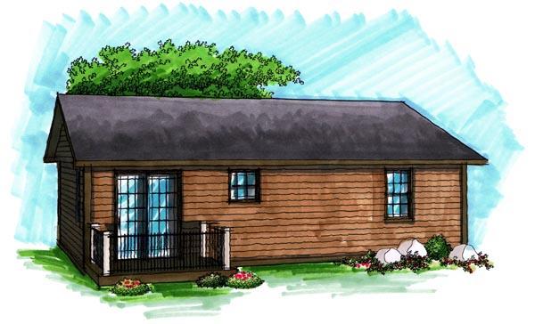 Ranch , Rear Elevation of Plan 72971
