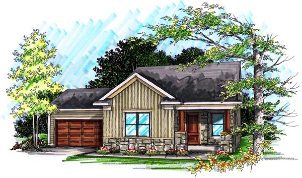 Ranch House Plan 72975 with 2 Beds, 2 Baths, 2 Car Garage Elevation