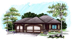 Ranch House Plan 72977 with 2 Beds, 2 Baths, 3 Car Garage Elevation