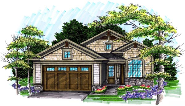 Ranch House Plan 72982 with 2 Beds, 2 Baths, 2 Car Garage Elevation