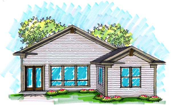 Ranch House Plan 72982 with 2 Beds, 2 Baths, 2 Car Garage Rear Elevation