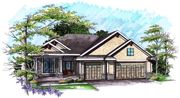 Ranch House Plan 72988 with 3 Beds, 2 Baths, 3 Car Garage Elevation