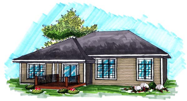Ranch House Plan 72988 with 3 Beds, 2 Baths, 3 Car Garage Rear Elevation