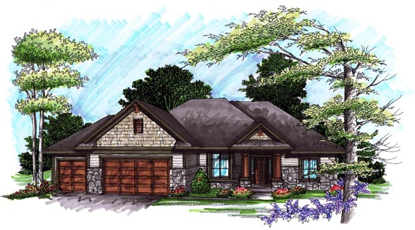 Ranch House Plan 72989 with 3 Beds , 2 Baths , 3 Car Garage Elevation