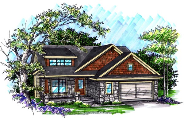 Craftsman House Plan 72991 with 2 Beds, 2 Baths, 2 Car Garage Elevation