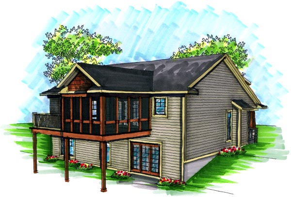 Craftsman House Plan 72991 with 2 Beds, 2 Baths, 2 Car Garage Rear Elevation