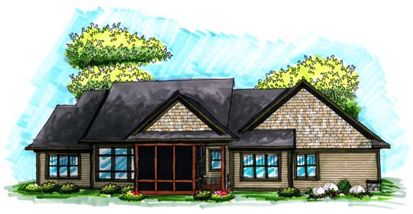 Ranch House Plan 72993 Rear Elevation