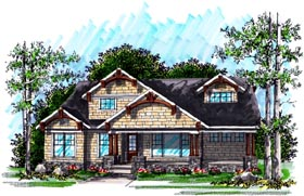 House Plan 72997 | Cottage Craftsman Style Plan with 2394 Sq Ft, 2 Bedrooms, 3 Bathrooms, 3 Car Garage Elevation