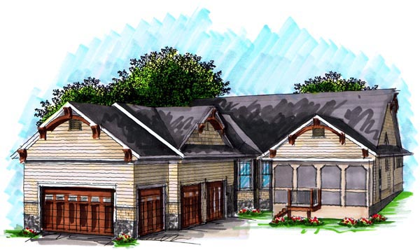 House Plan 72997 | Cottage Craftsman Style Plan with 2394 Sq Ft, 2 Bedrooms, 3 Bathrooms, 3 Car Garage Rear Elevation