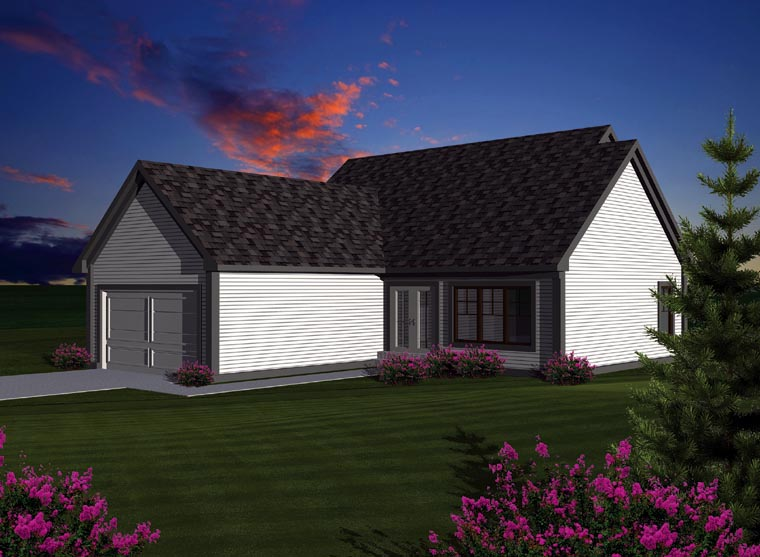 House Plan 72998   Ranch Style Plan with 1398 Sq Ft, 2 Bedrooms, 2 Bathrooms, 2 Car Garage Rear Elevation