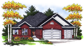 Traditional , European House Plan 73010 with 3 Beds, 2 Baths, 3 Car Garage Elevation